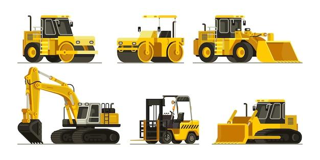 Conjunto de maquinaria pesada y maquinaria de construcción | Vector Premium