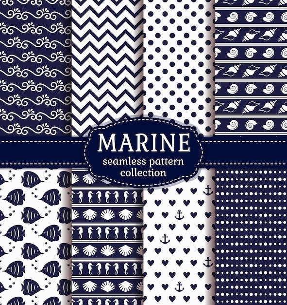 Conjunto de mar y patrones náuticos sin costura. Vector Premium