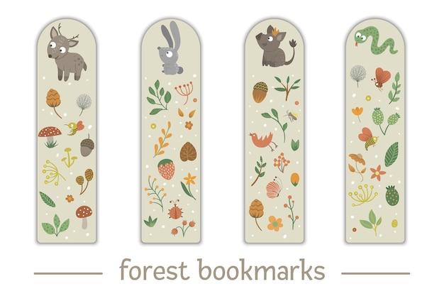 Conjunto de marcadores para niños con tema de animales del bosque. Vector Premium