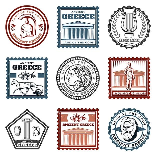 Conjunto de marcas griegas antiguas vintage vector gratuito