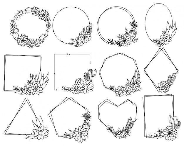 Conjunto de marco de cactus. colección de hermosos arreglos vegetales con borde floral. Vector Premium