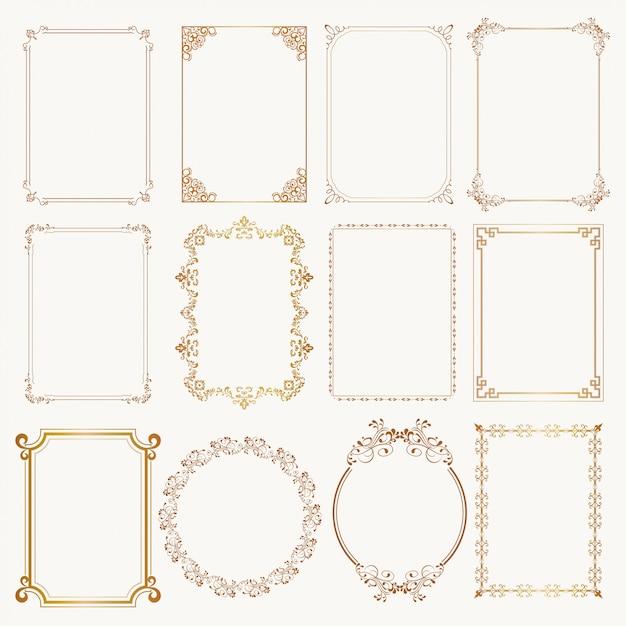 Conjunto de marco caligráfico otborders esquinas marcos ornamentados. Vector Premium