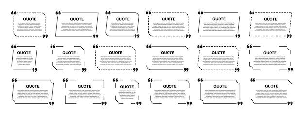 Conjunto de marco de cuadro de cotización. diseño de plantilla. marco para texto de información o cita. Vector Premium