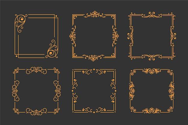 Conjunto de marco dorado vintage sobre fondo negro Vector Premium