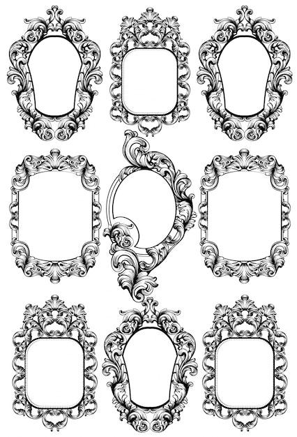 Conjunto de marco de espejo barroco | Descargar Vectores Premium