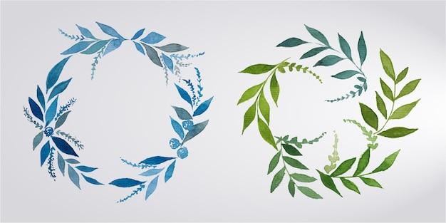 Conjunto de marco floral acuarela para logotipo de monograma de boda y diseño de logotipo de marca Vector Premium