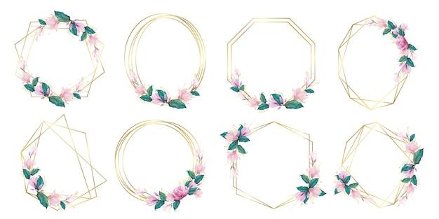 Conjunto de marco floral acuarela para logotipo de monograma de boda y diseño de logotipo de marca vector gratuito