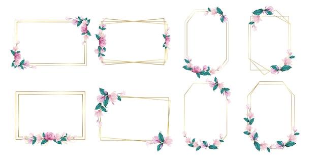 Conjunto de marco de flores de acuarela para logotipo de monograma de boda y diseño de logotipo de marca vector gratuito