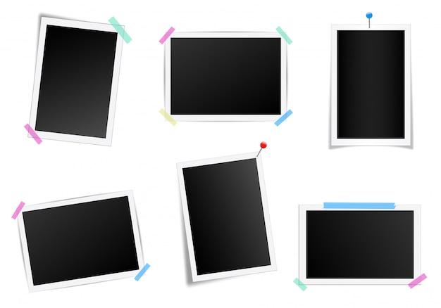 Conjunto de marco de fotos cuadrado con sombras. Vector Premium