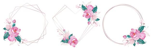 Conjunto de marco geométrico de oro rosa decorado con flor rosa en estilo acuarela para tarjeta de invitación de boda vector gratuito