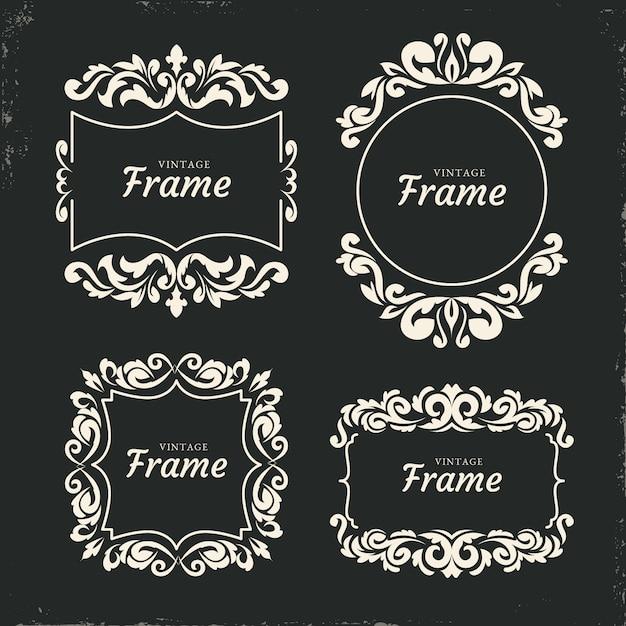 Conjunto de marco ornamental vintage vector gratuito