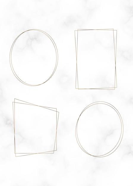 Conjunto de marco de oro vector gratuito
