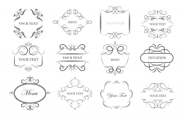 Conjunto de marcos de adorno vintage vector gratuito