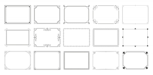 Conjunto de marcos caligráficos rectangulares vector gratuito