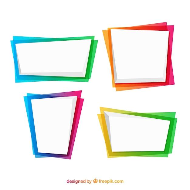Conjunto de marcos en colores degradados vector gratuito