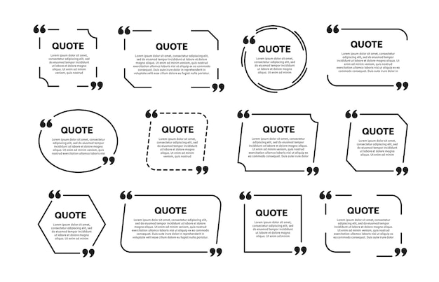 Conjunto de marcos de cuadro de cotización. plantilla para texto. Vector Premium
