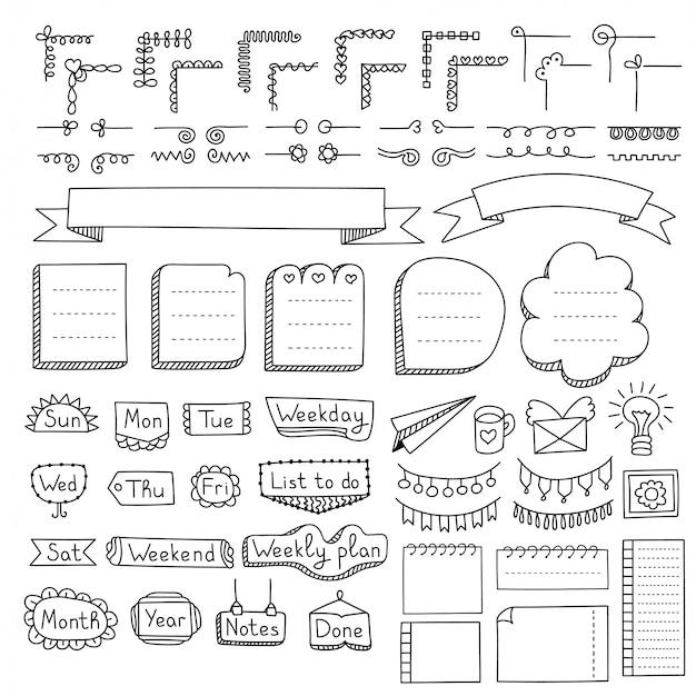 Conjunto de marcos de doodle, bordes, esquinas, divisores, cintas, días de semana y elementos de diseño. Vector Premium