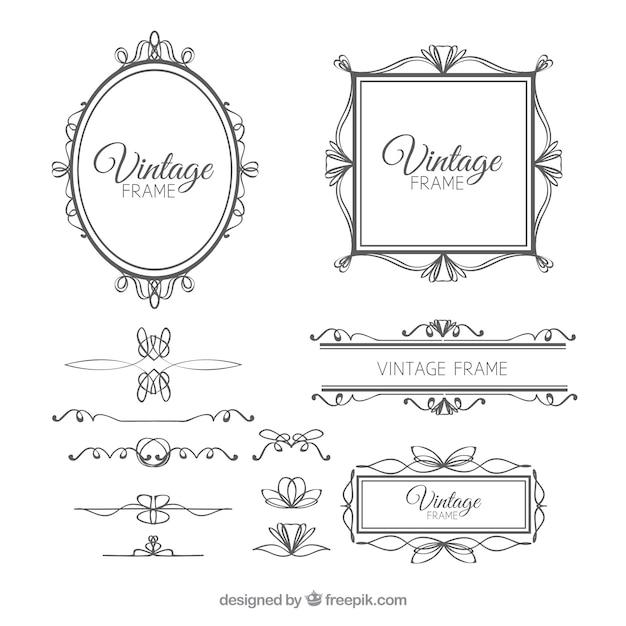 Conjunto de marcos en estilo vintage vector gratuito