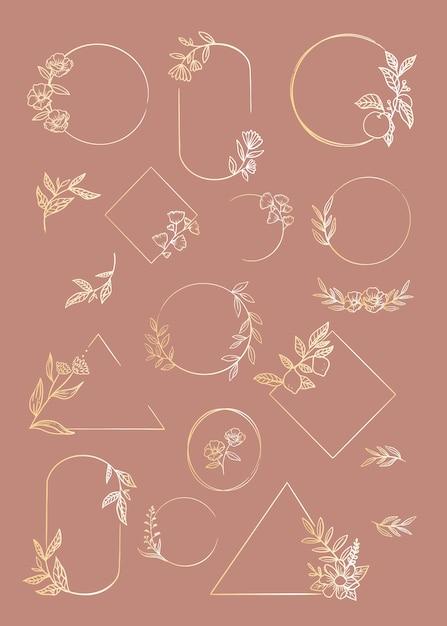 Conjunto de marcos florales vector gratuito