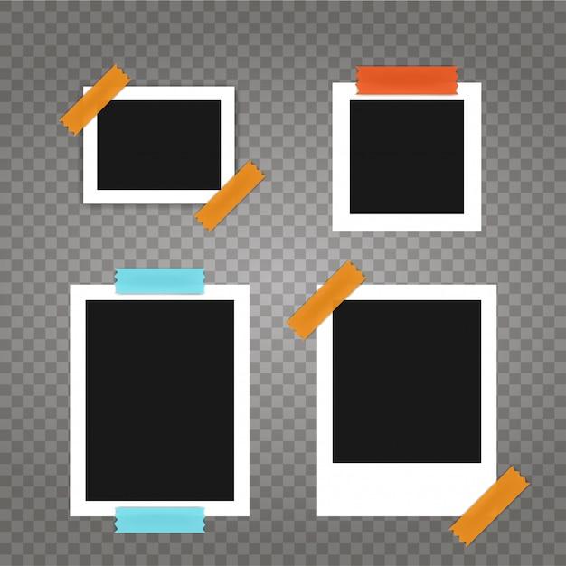 Conjunto de marcos de fotos de plantilla sobre fondo transparente Vector Premium