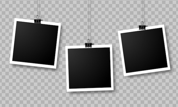 Conjunto de marcos de fotos vacías colgando de un clip aislado en transparente Vector Premium