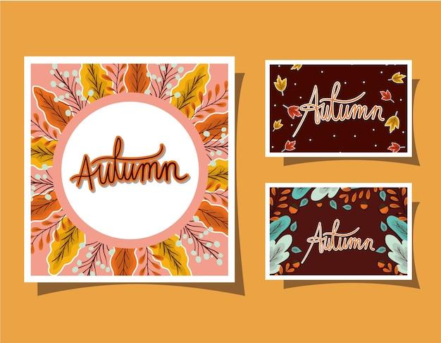 Conjunto de marcos con hojas de otoño sobre diseño de fondo amarillo, tema de temporada Vector Premium