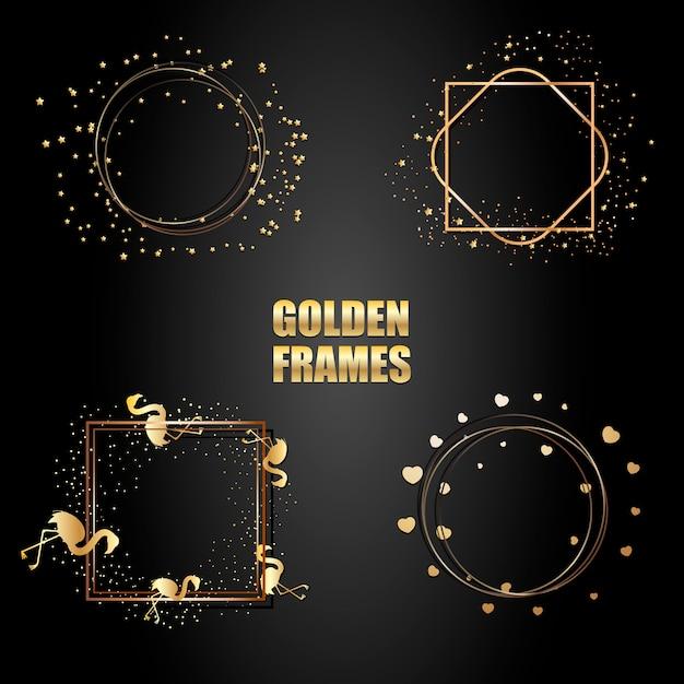Conjunto de marcos metálicos dorados con destellos Vector Premium