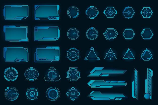 Conjunto de marcos planos de diferentes elementos de hud vector gratuito