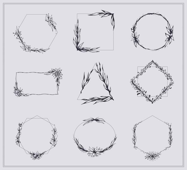 Conjunto de marcos con ramas y flores vector gratuito