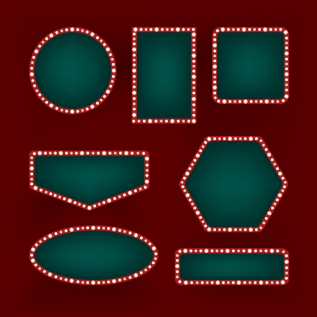 Conjunto de marcos retro vintage sobre fondo rojo. carteleras de neón brillantes de diferentes formas. decoración de cine, cafetería o casino. Vector Premium