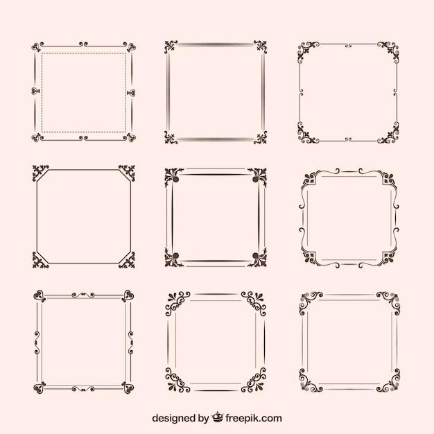 Conjunto de marcos vintage con ornamentos vector gratuito