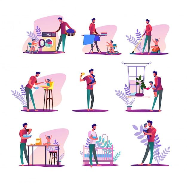 Conjunto de marido de casa vector gratuito