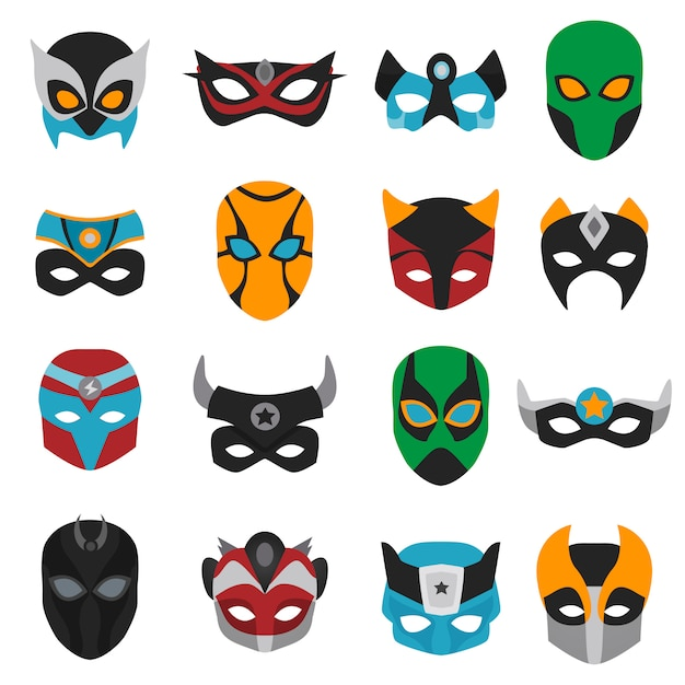 Conjunto de máscaras de superhéroe vector gratuito
