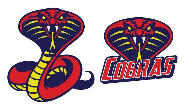 Conjunto de mascota de serpiente cobra aislado en blanco Vector Premium