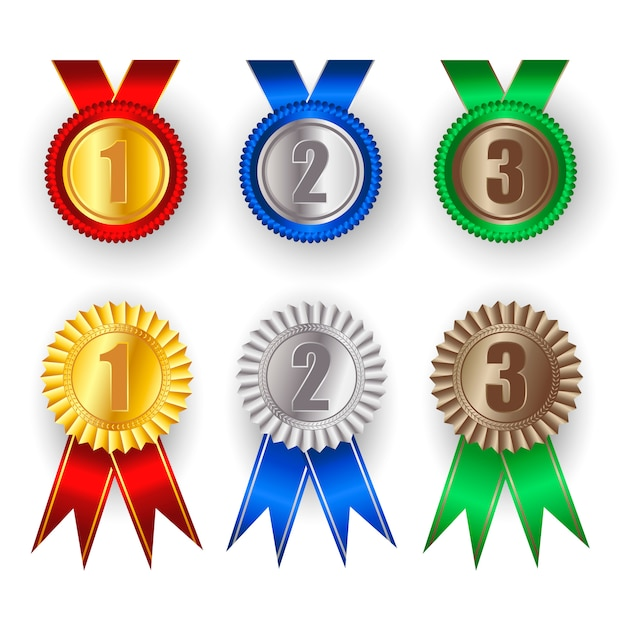 Conjunto de medalla de oro, plata y bronce. Vector Premium