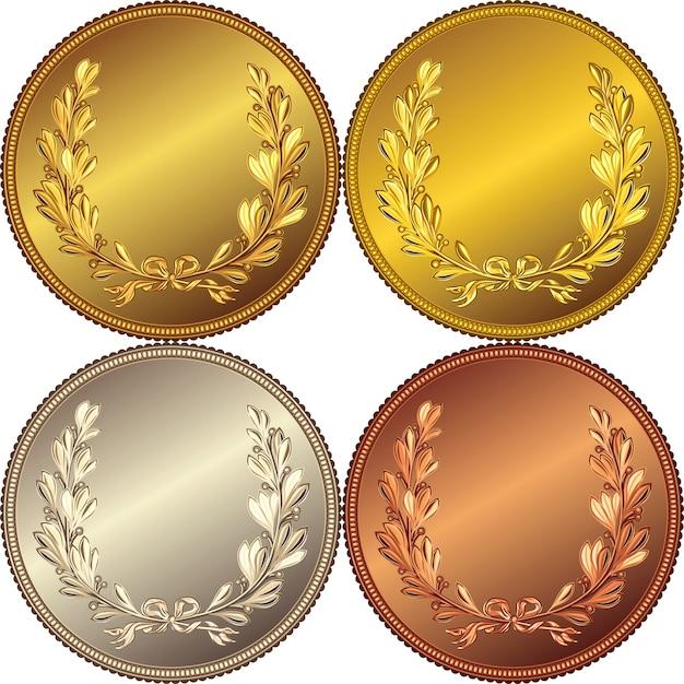 Conjunto de medallas de oro, plata y bronce con la imagen de una corona de laurel Vector Premium
