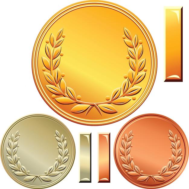 Conjunto de medallas de oro, plata y bronce para el primer, segundo y tercer lugar Vector Premium