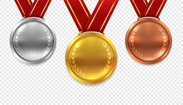 Conjunto de medallas realistas. medallas de oro, bronce y plata con cintas rojas sobre fondo transparente colección Vector Premium