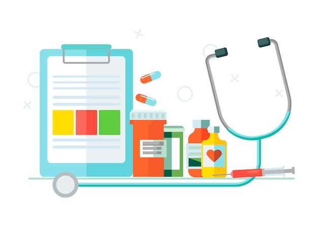 Conjunto médico de objetos. vector gratuito