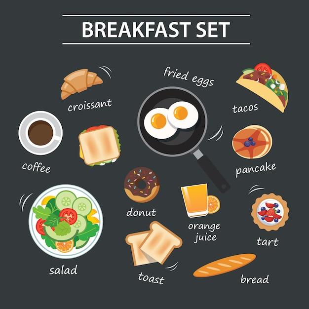 Conjunto de menú de desayuno en pizarra Vector Premium