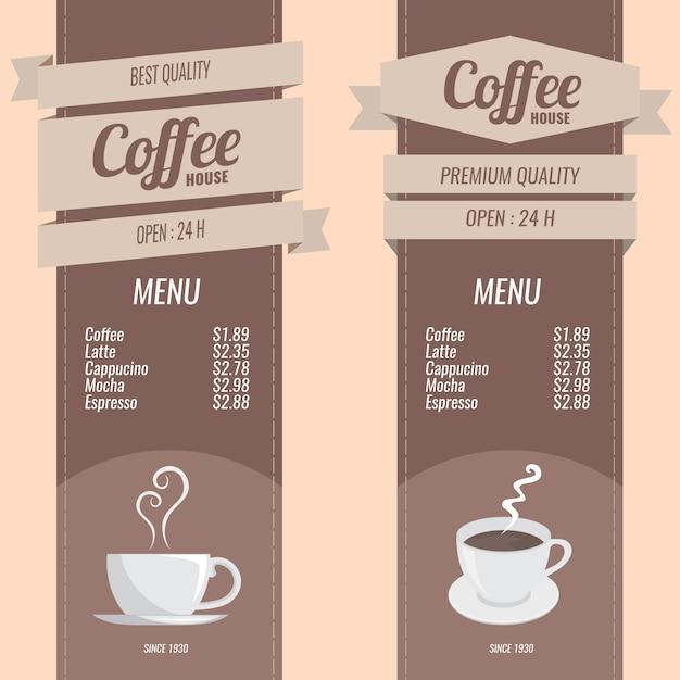 conjunto de menús de café descargar vectores gratis