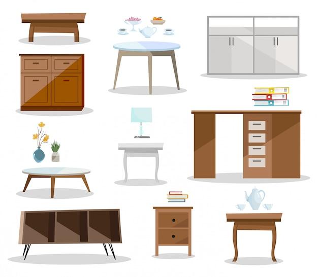 Conjunto de mesas diferentes. muebles cómodos mesita de noche, escritorio, mesa de oficina, mesa de centro en diseño moderno. Vector Premium