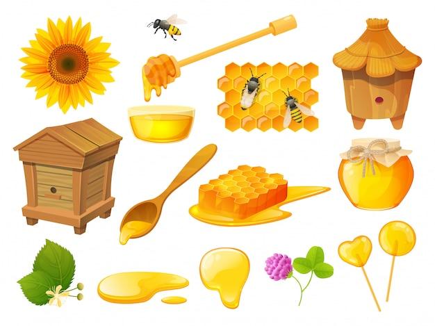 Conjunto de miel, productos apícolas, colmenar de madera, ilustración Vector Premium