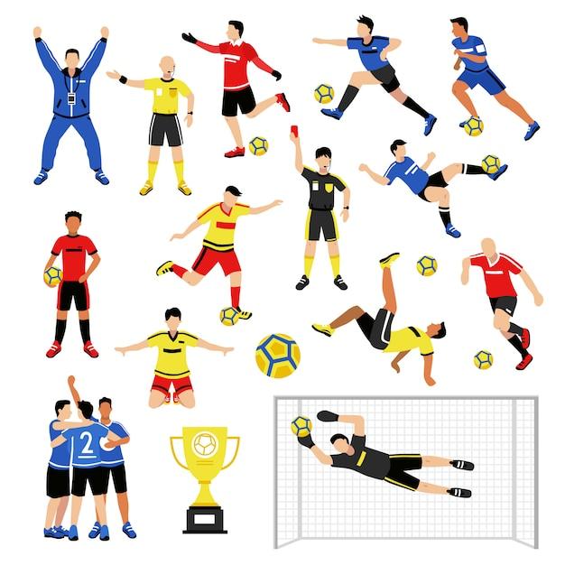 Conjunto de miembros del equipo de fútbol vector gratuito