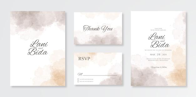 Conjunto minimalista y hermoso de plantillas de invitación de boda con salpicaduras de acuarela Vector Premium