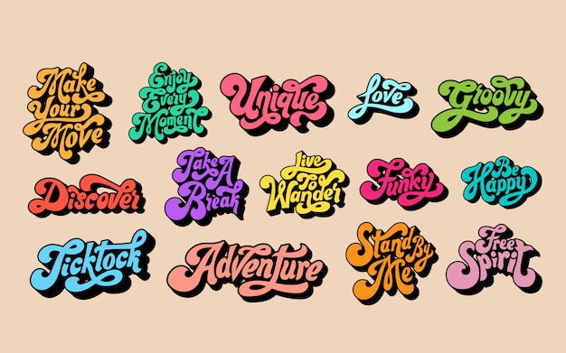 Conjunto mixto de tipografía de palabras motivacionales. vector gratuito