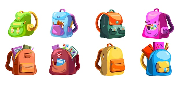 Conjunto de mochilas de primaria de dibujos animados. mochilas escolares infantiles con útiles en bolsillos abiertos, bolsos y mochilas de colores brillantes. vector gratuito