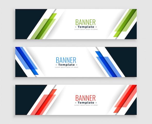 Conjunto moderno de banners web geométricos abstractos en tres colores vector gratuito