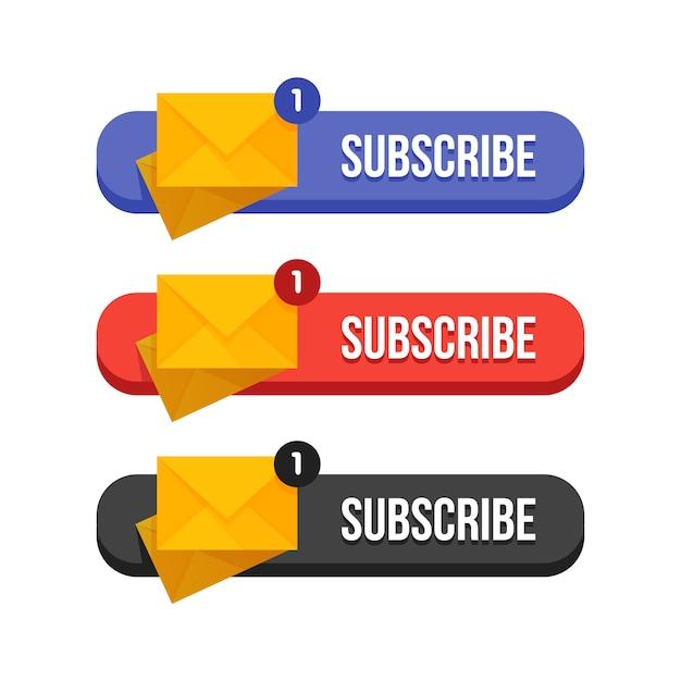 Conjunto moderno de butoons de suscripción plana Vector Premium