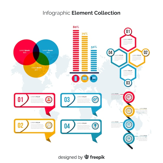 Conjunto moderno de elementos de infografía con diseño plano vector gratuito